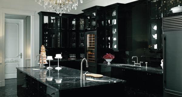 сочетание цветов для интерьера кухни: черная кухня
