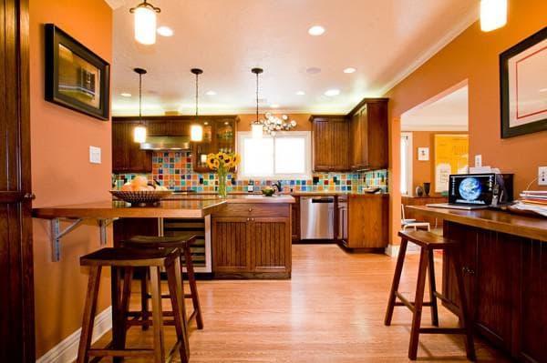 сочетание цветов в интерьере кухни: оранжевая кухня