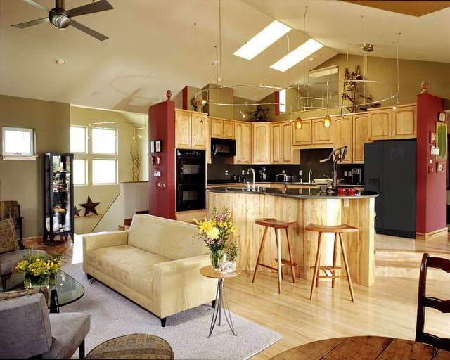 интерьер кухни совмещенной с гостиной: комната-кухня