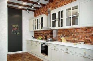 кухни в стиле лофт - кирпичная стена