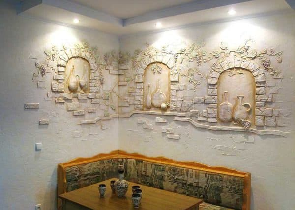 чем отделать стены в кухню: барельеф