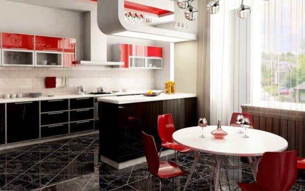 сочетание цветов в интерьере кухни: черные кухни