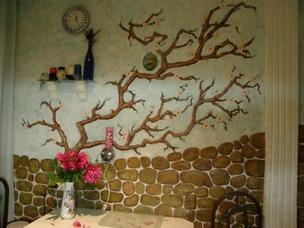 рисунок на стене на кухне
