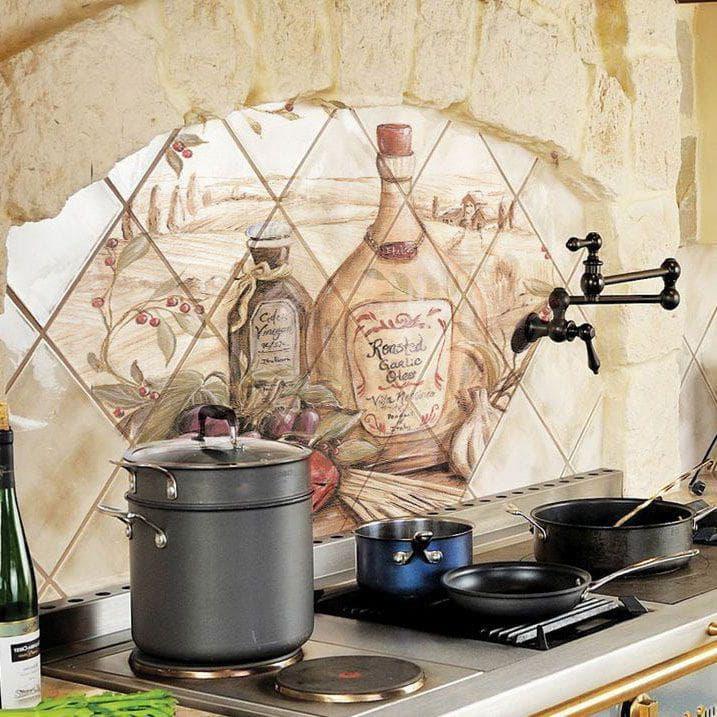 Керамическое панно из керамогранита и керамической плитки на стену изделия с цветами в виде тарелок на фартук и напольные разновидности интересные варианты