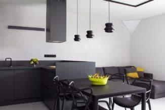 Дизайн черно белой кухни