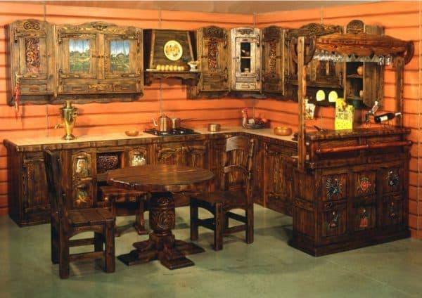 резная мебель на кухне Винтаж