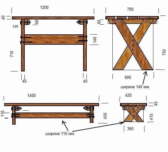 как можно сделать деревянный стол-схема