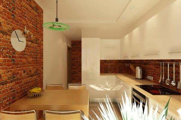 комбинирование кирпича на стене в кухне