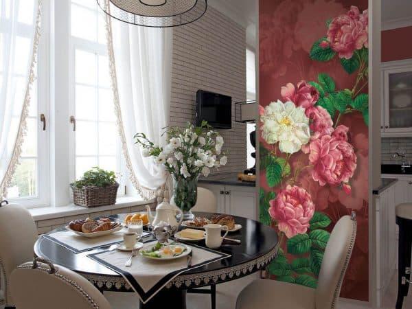 дизайнерские идеи для кухни обои с цветами