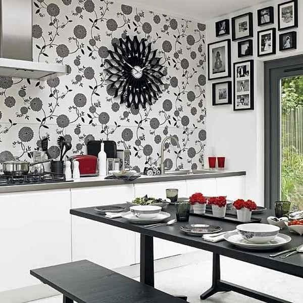 дизайнерские идеи для кухни в черно-белых мотивах