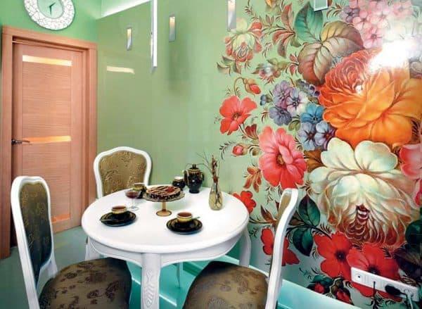дизайнерские идеи для кухни графические цветы
