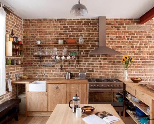Декоративный кирпич на кухне своими руками