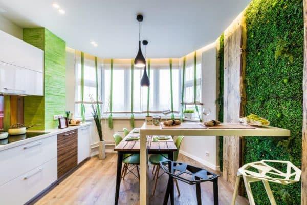 кухня в эко стиле зелёного цвета