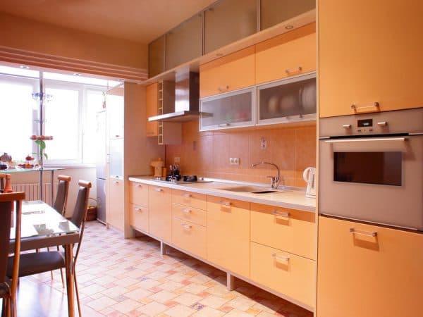 кухонные шкафы для кухни в один ряд