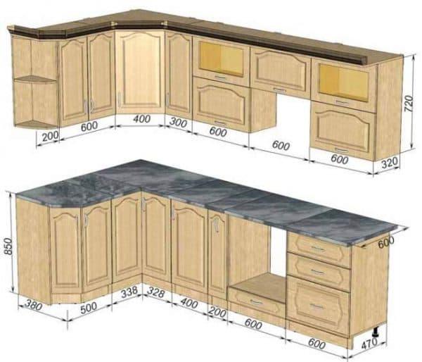 стандартные кухонные шкафы для кухни