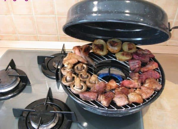 керамическая гриль сковорода на газовую плиту