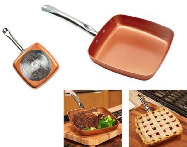 медная сковорода с антипригарным покрытием