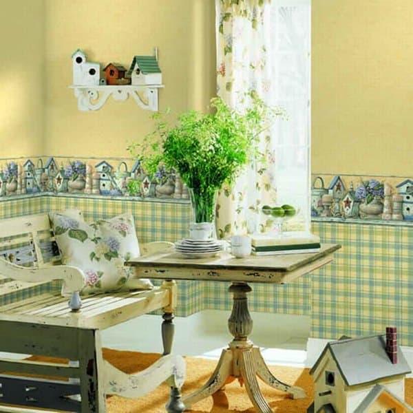 обои из стекловолокон в стиле прованс для кухни