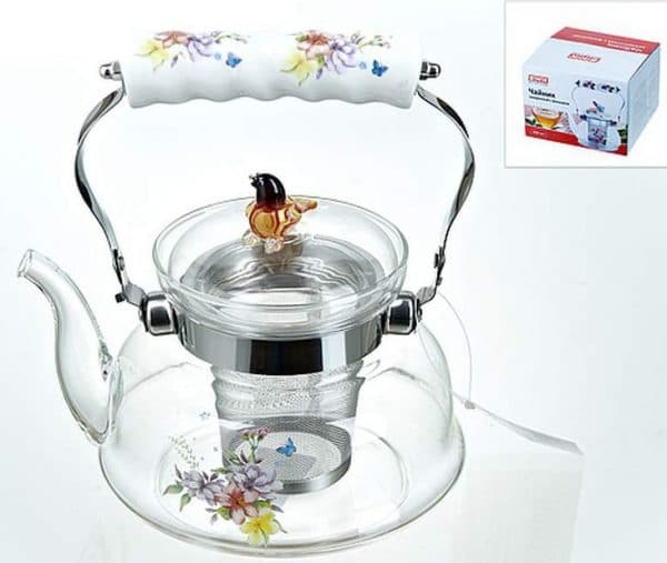 чайник стеклянный со свистком для газовой плиты