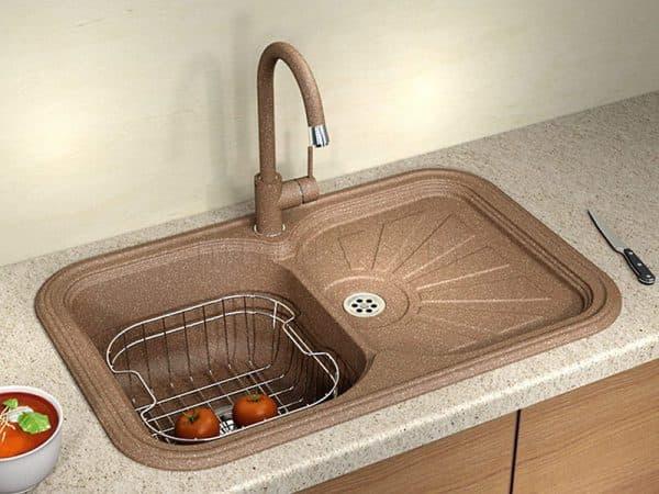 накладная мойка для кухни из искусственного камня