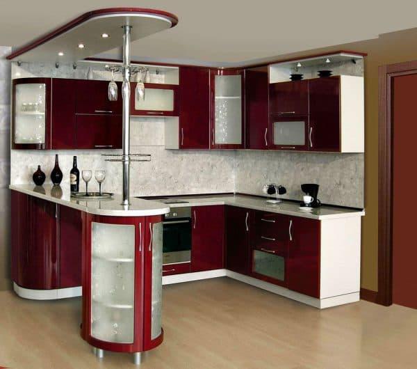 кухонный гарнитур для кухни с барной стойкой