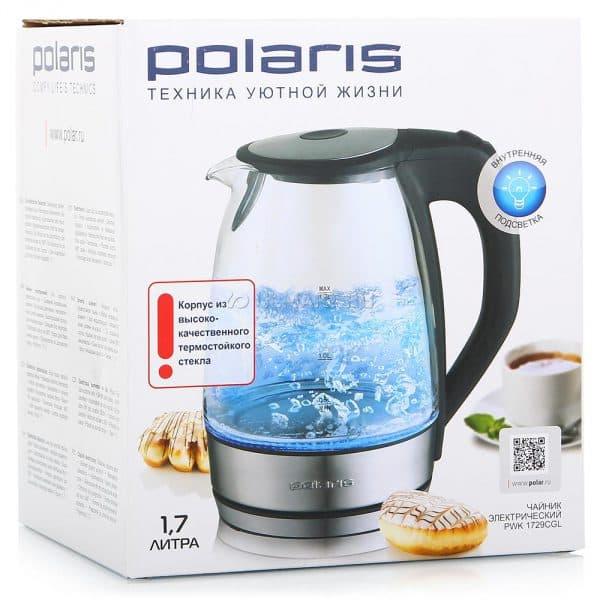 чайник электрический стеклянный с подсветкой Polaris PWK 1729CGL