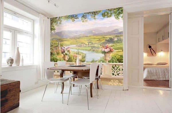 фотообои на стену на кухню с рисунками с пейзажами