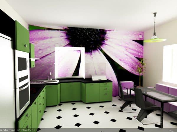 фотообои на стену на кухню в стиле хай-тек