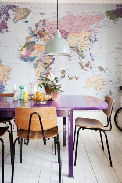 фотообои на стену на кухню с картами стран