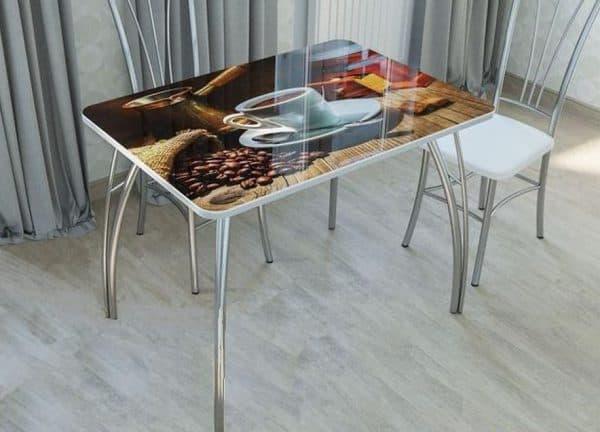 столы из закалённого стекла с фотопечатью для кухни