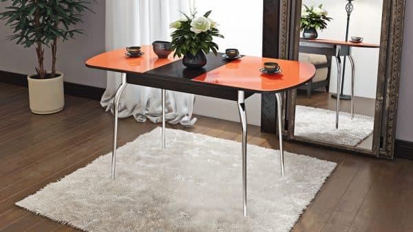 столы из стекла с фотопечатью с двойной столешницей для кухни