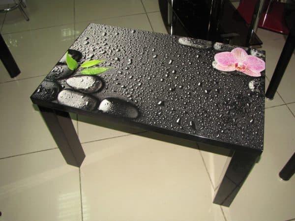 прямоугольный столик из стекла с фотопечатью для кухни