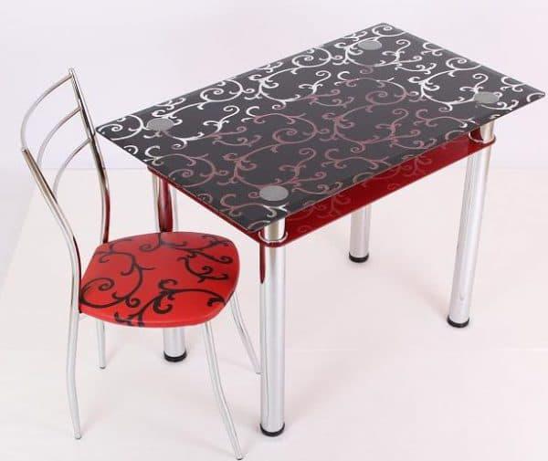 столик из стекла способом пленочной печати для кухни