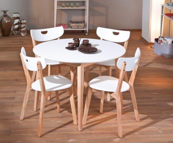 круглые белые деревянные стулья для кухни