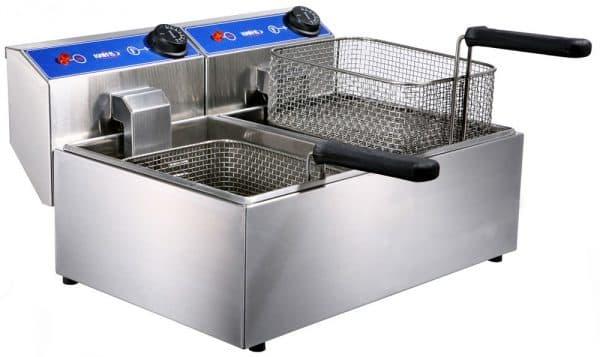 электрическая профессиональная фритюрница с 2 ваннами