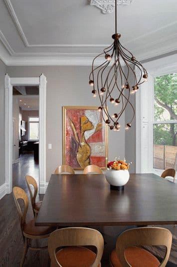 подвесная растянутая люстра на кухню