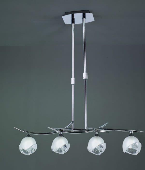 подвесная люстра с галогенными лампами на кухню