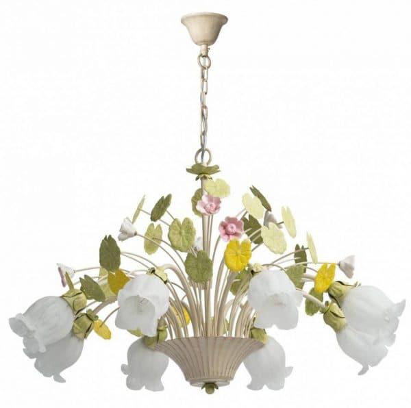 подвесная люстра в виде цветов на кухню