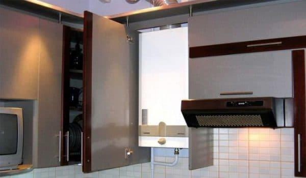 как спрятать газовый водонагреватель на кухне