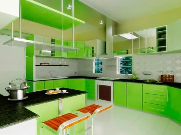 сочетание цветов для интерьера кухни: зеленая кухня