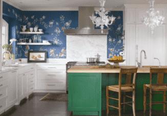 сочетание цветов в интерьере кухни: зонирование цветом