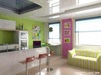 интерьер кухни совмещенной с гостиной: плюсы перепланировки