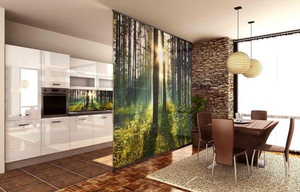 интерьер кухни совмещенной с гостиной: зонирование мебелью