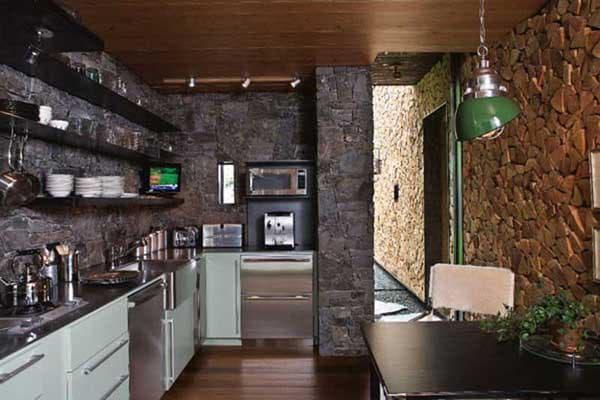 чем отделать стены кухни: камень