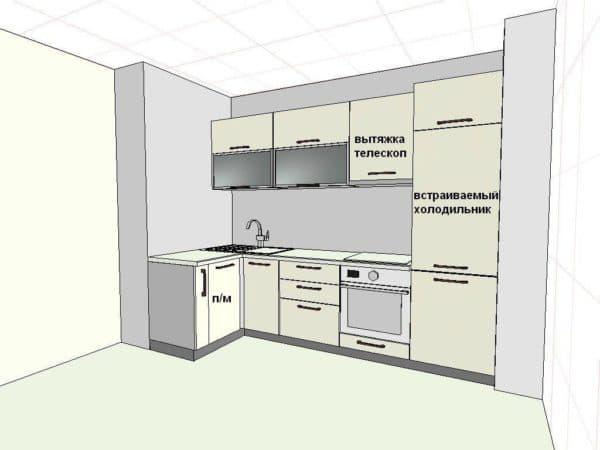 Схема кухни с размерами