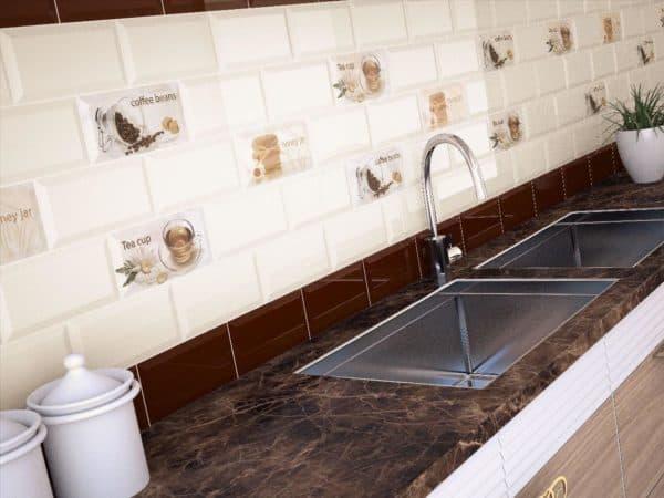 С помощью плитки можно привнести гармонию в кухню, или наоборот создать контрастное пятно.
