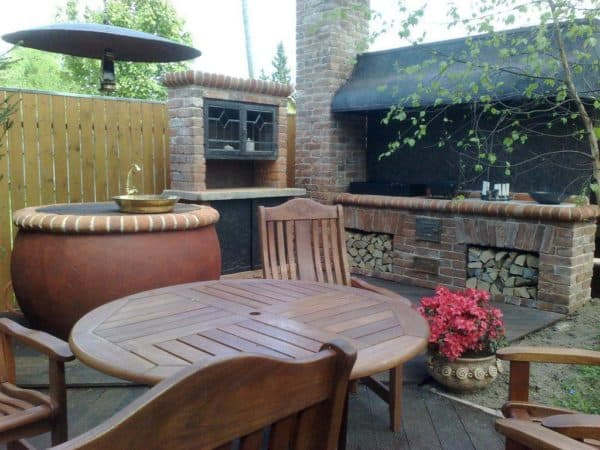 Проект летней кухни с верандой: на террасе, деревянные, открытые