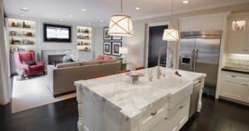 Зонирование кухни и гостиной: барная стойка, ширма, световое решение, половым покрытием