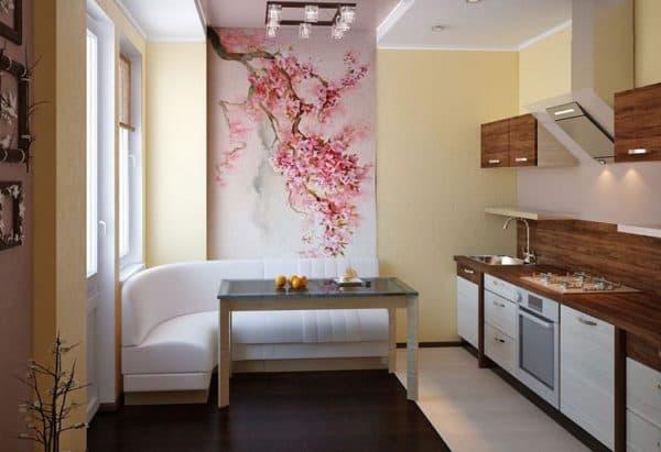Фрески на стене в интерьере кухни