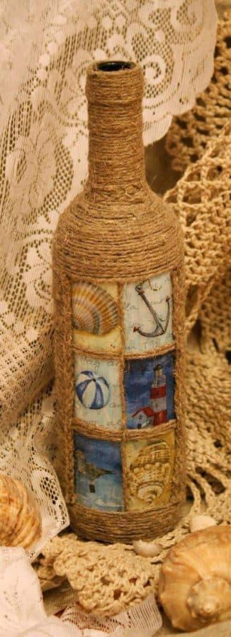Декор бутылок шпагатом